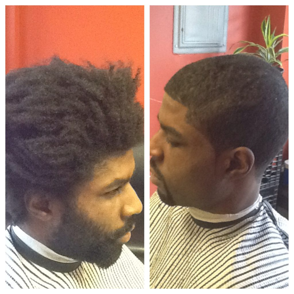 Before and after of a mens haircut
